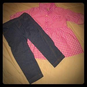 Carter's sz 18 months girls leggings and shirt
